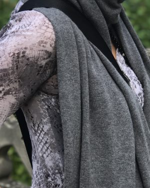 CASHMERE OVERSIZED WRAP - CHARCOAL GREY
