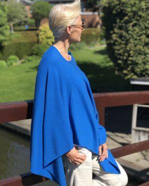 Cashmere Poncho - 088 Persian Blue