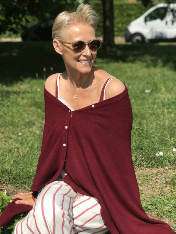 PEARL BUTTONED PONCHO - WINE