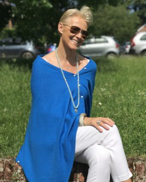 PEARL BUTTONED PONCHO - PERSIAN BLUE