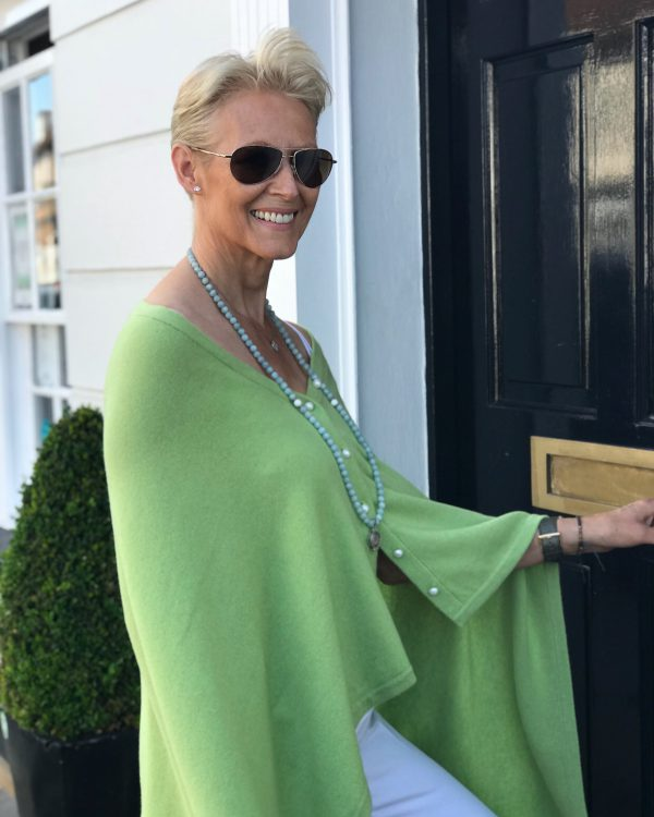 PEARL BUTTONED PONCHO - LIME