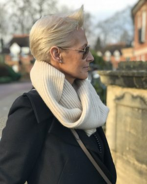CASHMERE RIBBED SNOOD - OATMEAL
