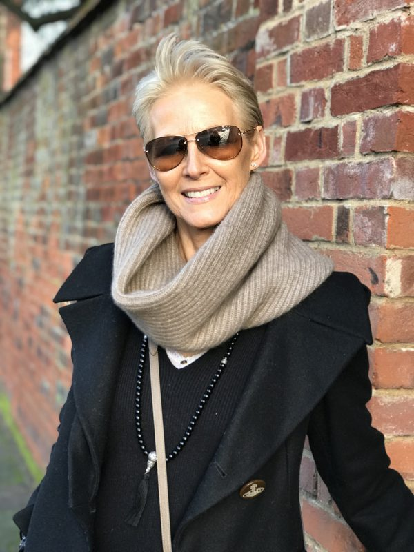 CASHMERE RIBBED SNOOD - MINK