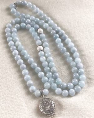 EXCLUSIVE DESIGN : AQUAMARINE MALA NECKLACE