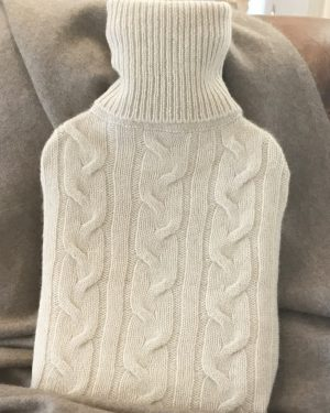 Cashmere Hot Water Bottle Cover - Soft Beige
