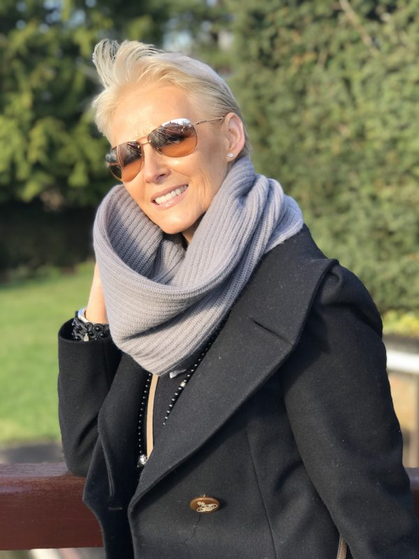 CASHMERE RIBBED SNOOD - PEWTER