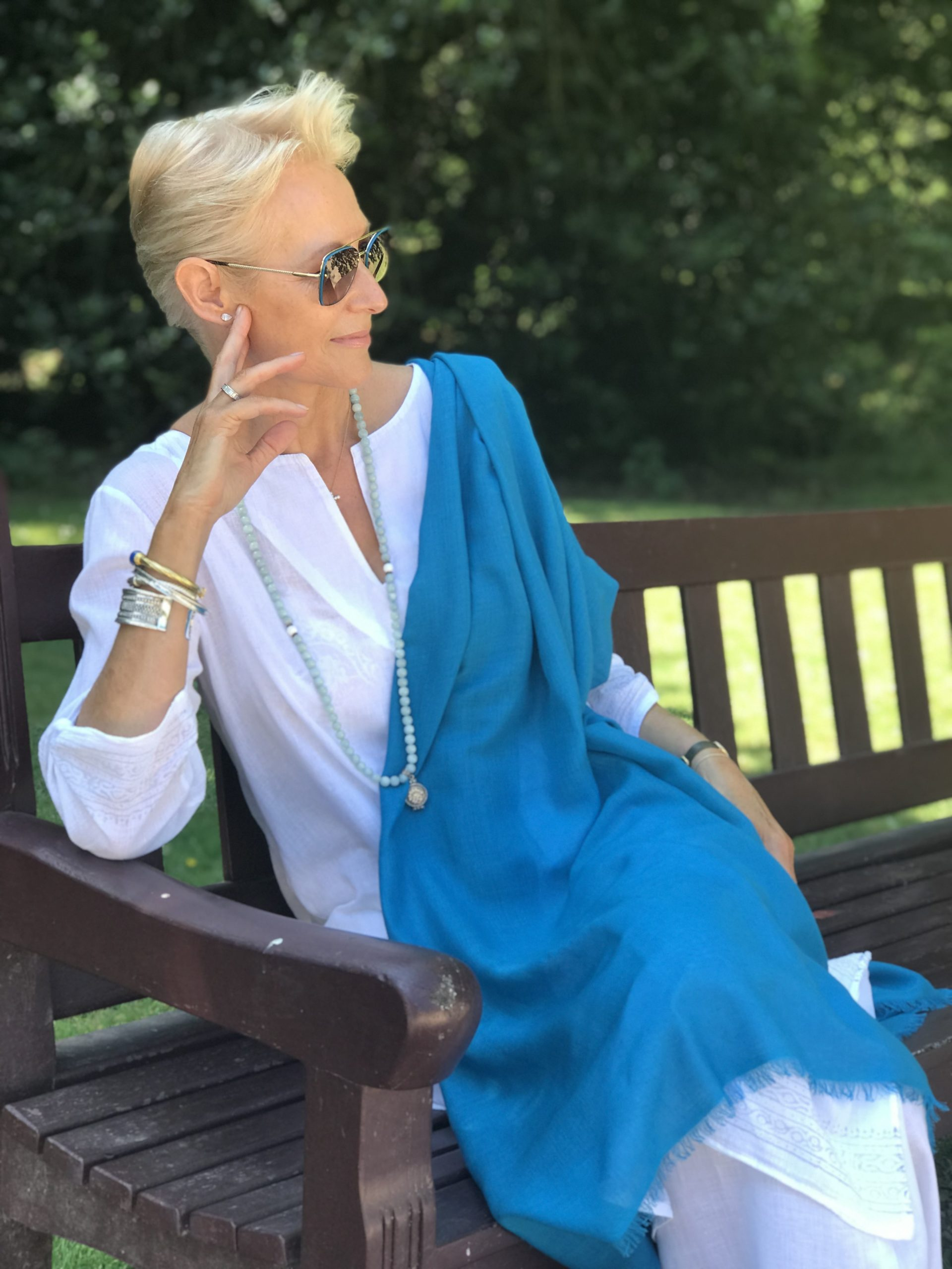 Cashmere & Silk Wrap Turquoise